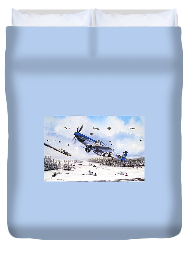 Aviation Duvet Cover featuring the painting Surprise At Asch by Marc Stewart
