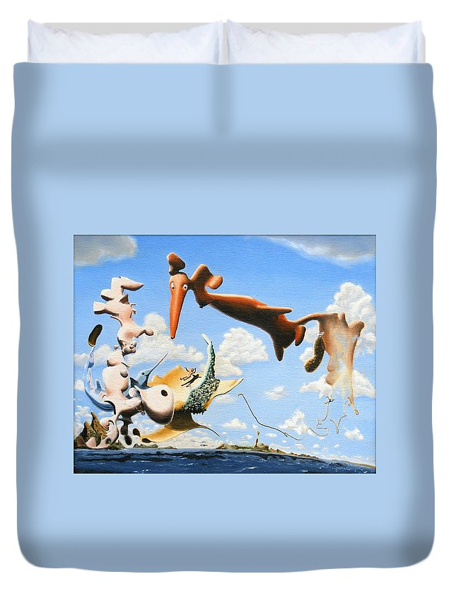 Surreal Duvet Cover featuring the painting Surreal Friends by Dave Martsolf
