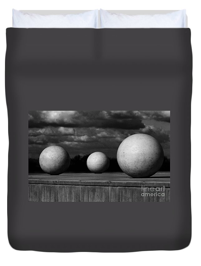 Black And White Duvet Cover featuring the photograph Surreal Globes by Peter Piatt
