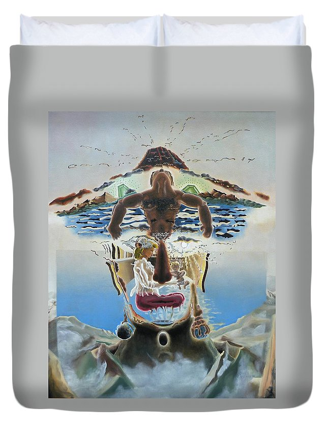 Surreal Duvet Cover featuring the painting Surreal Memories by Dave Martsolf