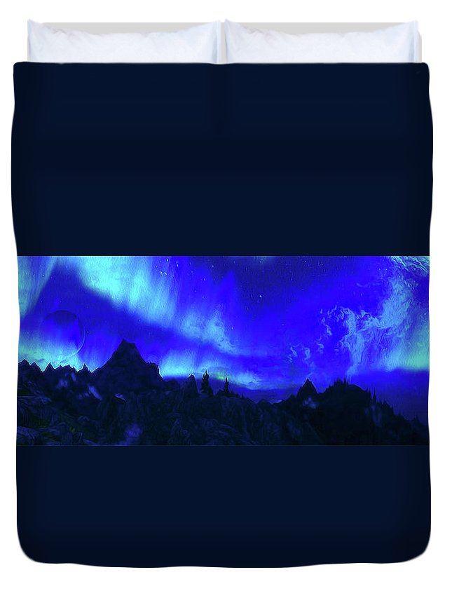 Sky Duvet Cover featuring the painting Surreal Nights by Andrea Mazzocchetti