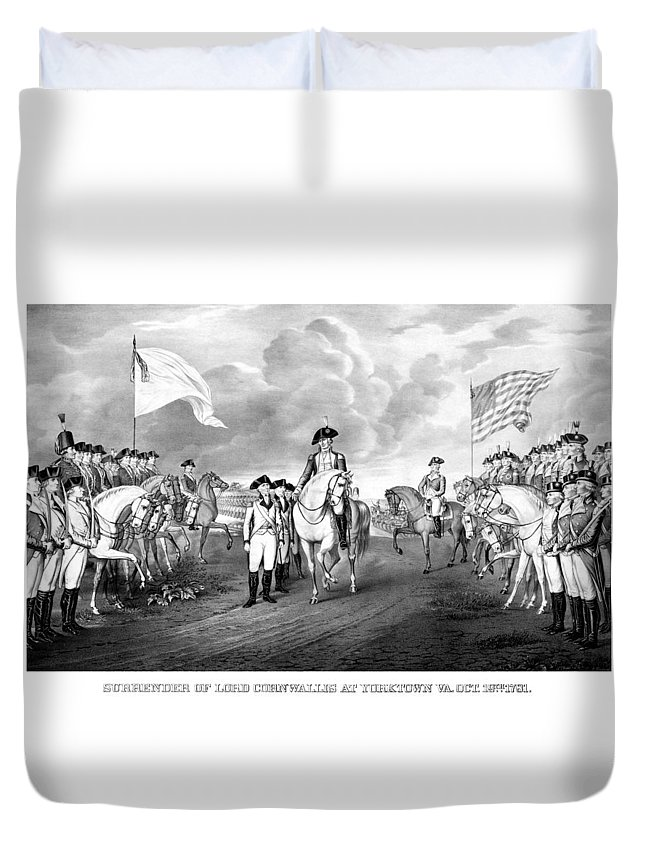 George Washington Duvet Cover featuring the mixed media Surrender Of Lord Cornwallis At Yorktown by War Is Hell Store