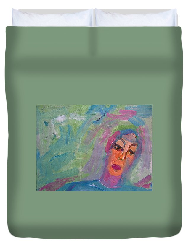 Abstract Duvet Cover featuring the painting Survivor by Judith Redman