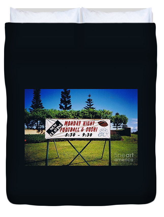 Kauai Duvet Cover featuring the photograph Sushi And Football In Hawaii by Tommy Anderson
