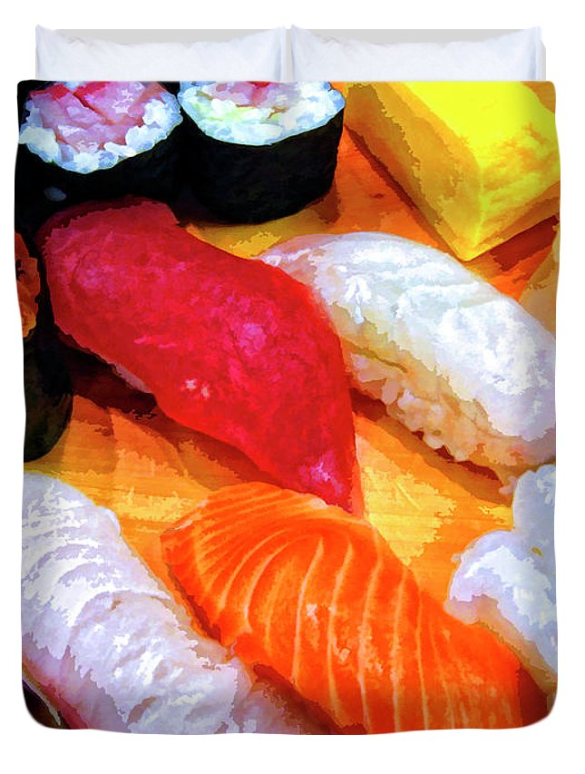Sushi Plate Duvet Cover featuring the mixed media Sushi Plate 4 by Dominic Piperata
