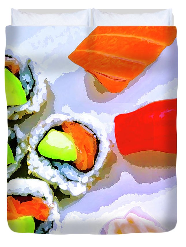 Sushi Plate Duvet Cover featuring the mixed media Sushi Plate 6 by Dominic Piperata