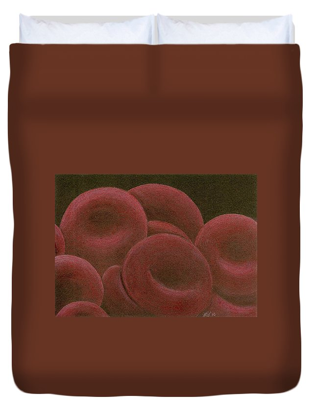 Red Blood Cells Duvet Cover featuring the drawing Sustenance by Jennie Richards