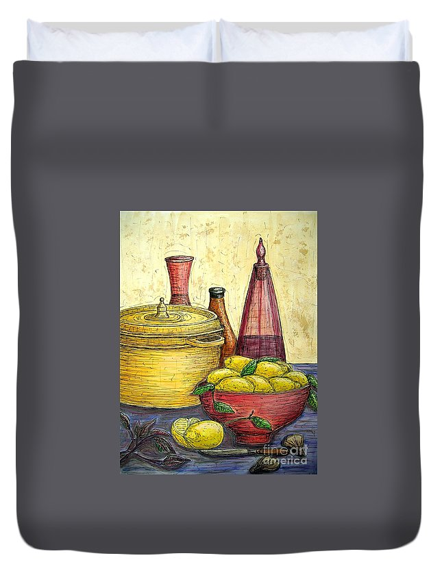Still Life Duvet Cover featuring the painting Sustenance by Kim Jones