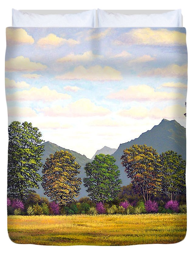Mountains Duvet Cover featuring the painting Sutter Buttes In Springtime by Frank Wilson