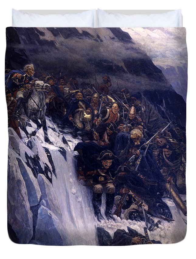 Vasily Ivanovich Surikov Duvet Cover featuring the painting Suvorov Crossing The Alps In 1799 by Vasily Ivanovich Surikov