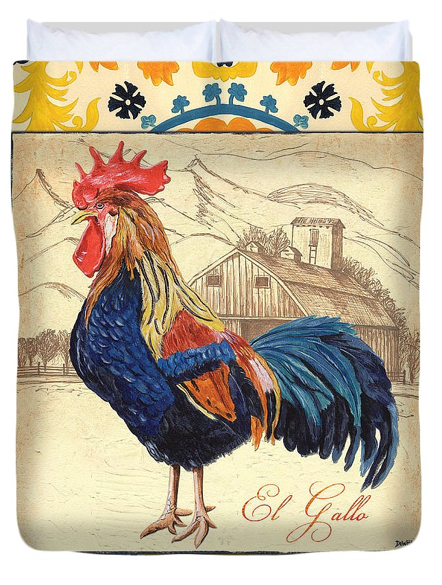 Rooster Duvet Cover featuring the painting Suzani Rooster 1 by Debbie DeWitt