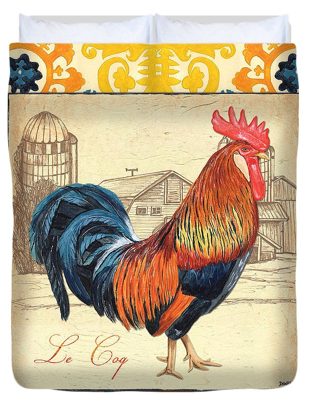 Rooster Duvet Cover featuring the painting Suzani Rooster 2 by Debbie DeWitt