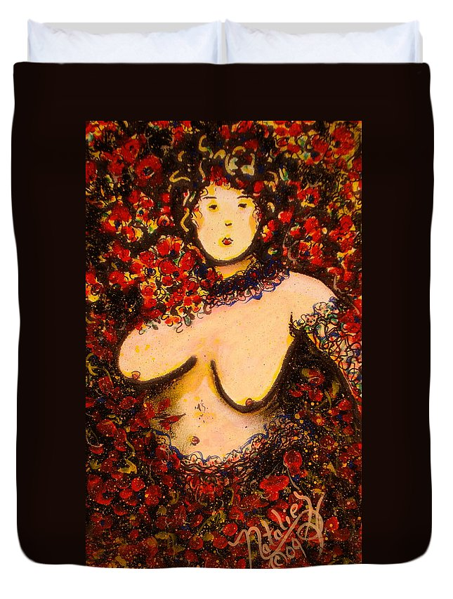 Nude Duvet Cover featuring the painting Suzanna by Natalie Holland
