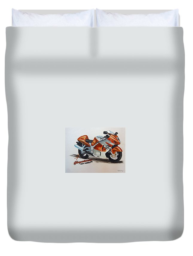 Suzuki Hayabusa Duvet Cover featuring the painting Suzuki Hayabusa by Richard Le Page