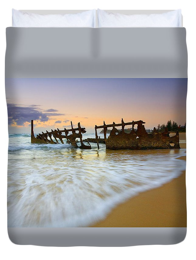 Shipwreck Duvet Cover featuring the photograph Swallowed By The Tides by Mike Dawson