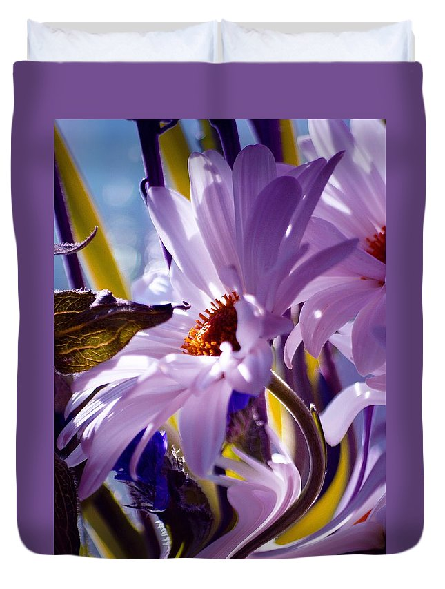 Flowers Duvet Cover featuring the photograph Swan... by Arthur Miller