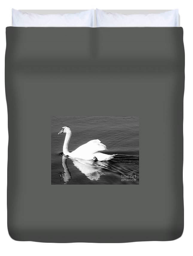 Swan Duvet Cover featuring the painting Swan In Motion On A Pond by Eric Schiabor