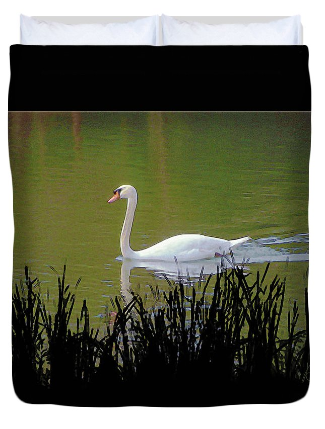 Bird Duvet Cover featuring the digital art Swan In The Pond by Barry Blackman