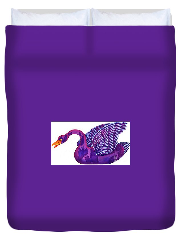 Swan Duvet Cover featuring the painting Swan by Jane Tattersfield