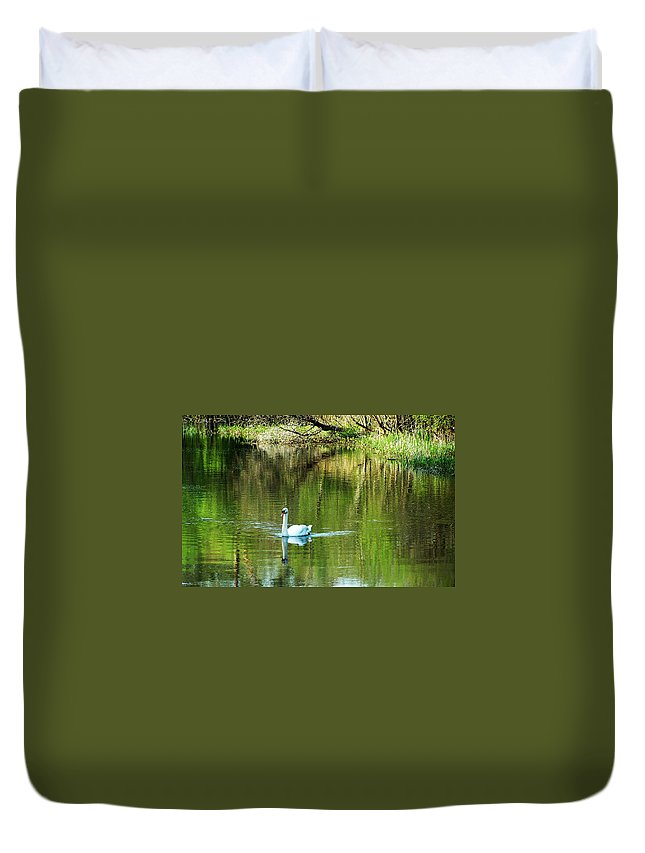 Irish Duvet Cover featuring the photograph Swan On The Cong River Cong Ireland by Teresa Mucha