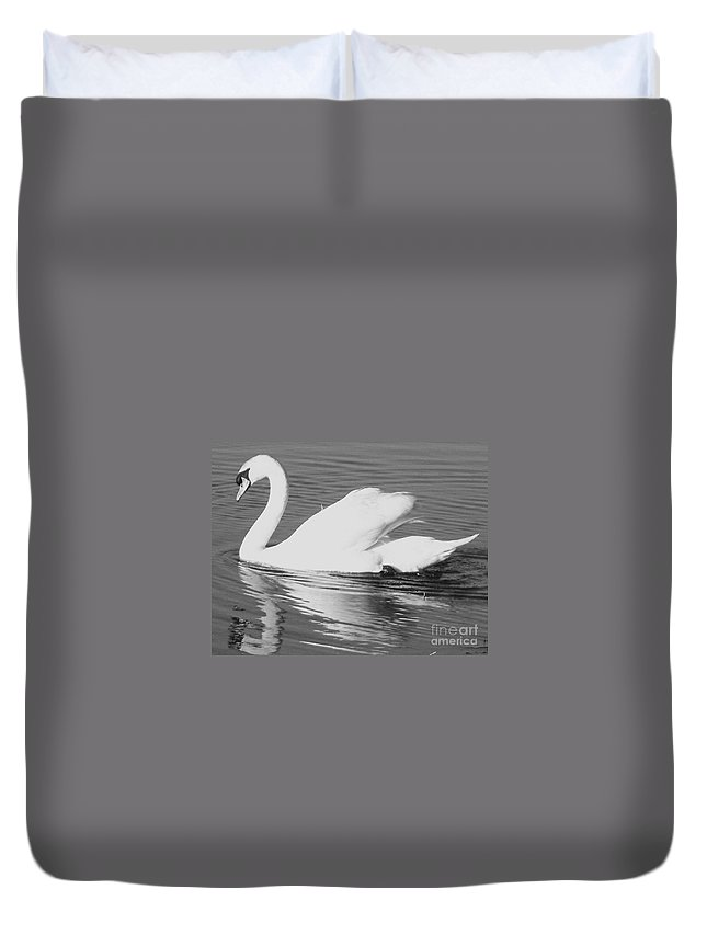 Swan Duvet Cover featuring the painting Swan Reflection by Eric Schiabor