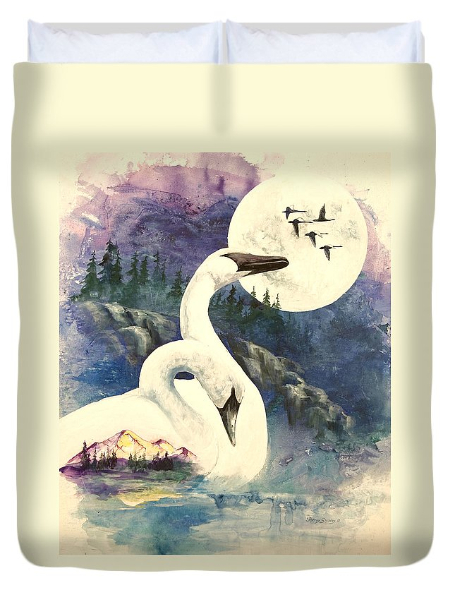 Wild Swans Duvet Cover featuring the painting Swan Song by Sherry Shipley