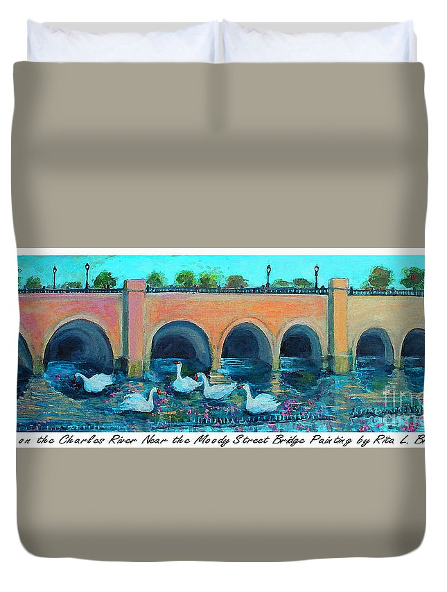 Charles Duvet Cover featuring the painting Swans On The Charles River by Rita Brown