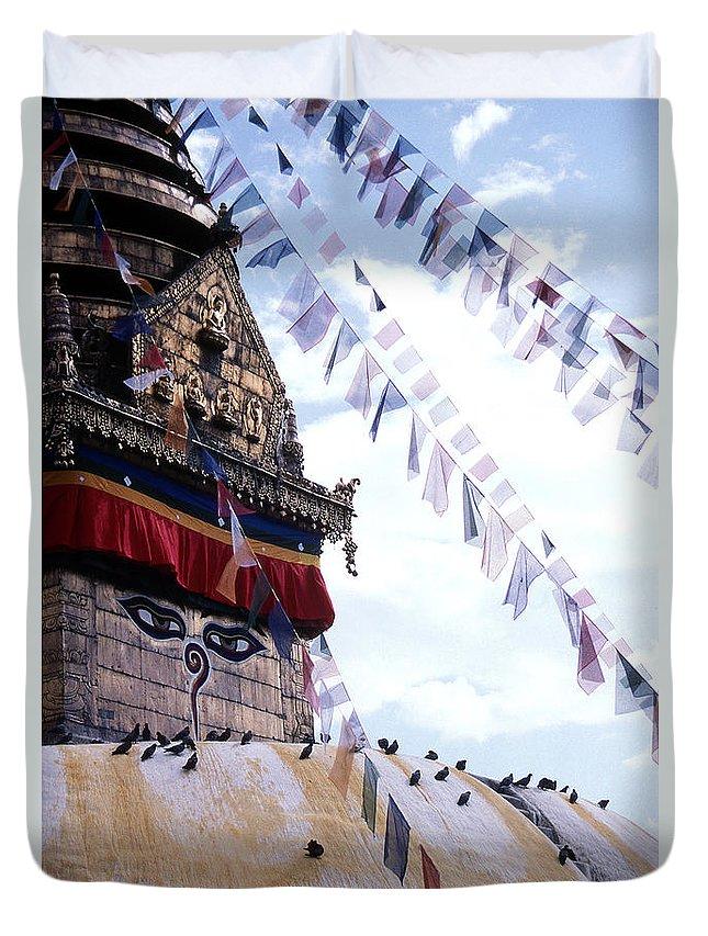 Swayambhunath Stupa Duvet Cover featuring the photograph Swayambhunath II by Patrick Klauss