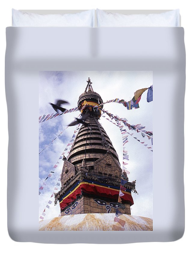 Swayambhunath Duvet Cover featuring the photograph Swayambhunath by Patrick Klauss