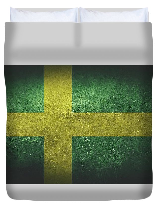 Sweden Duvet Cover featuring the painting Sweden Distressed Flag Dehner by T Shirts R Us -