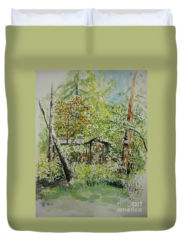 Trees Duvet Cover featuring the painting Sweden Landscape 1 by Lizzy Forrester