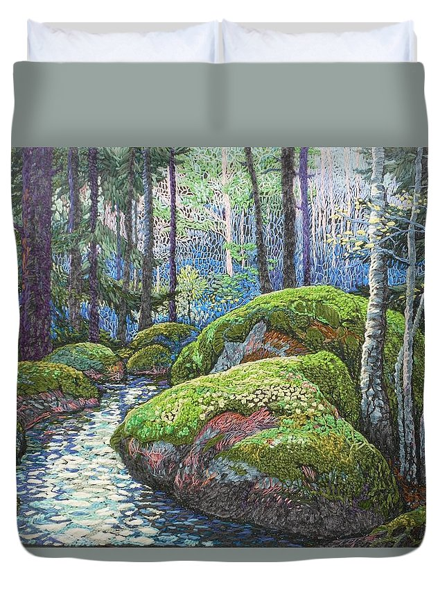 Swedish Woods Duvet Cover featuring the painting Swedish Woods by Kerstin Zettmar