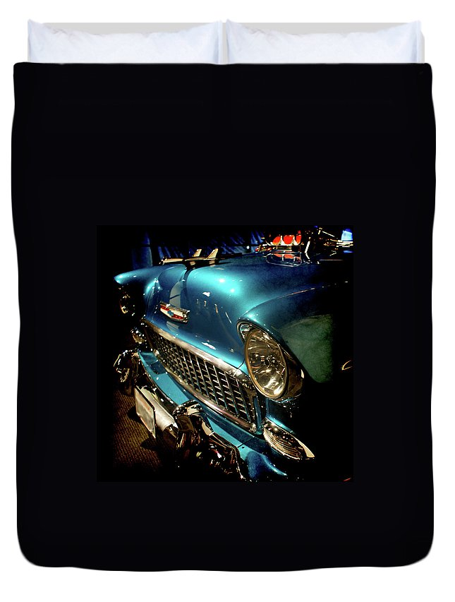 55 Chevy Duvet Cover featuring the photograph Sweet 55 by Ernie Echols