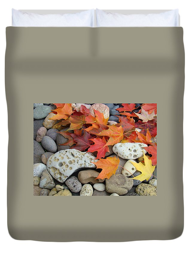 Art Duvet Cover featuring the photograph Sweet Autumn 1 Autumn Leaves Rock Designs Photography Digital Art Prints by Baslee Troutman
