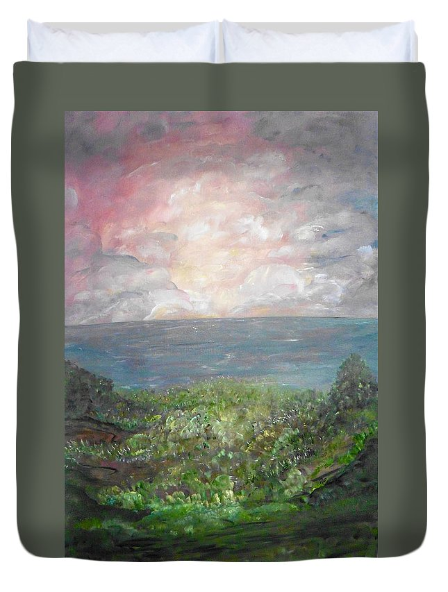 Whimsical Landscape Duvet Cover featuring the painting Sweet Bliss by Sara Credito