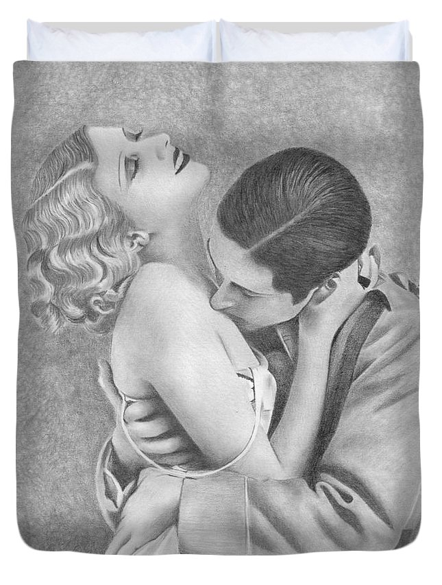 Couple Duvet Cover featuring the drawing Sweet Caress by Karen Townsend