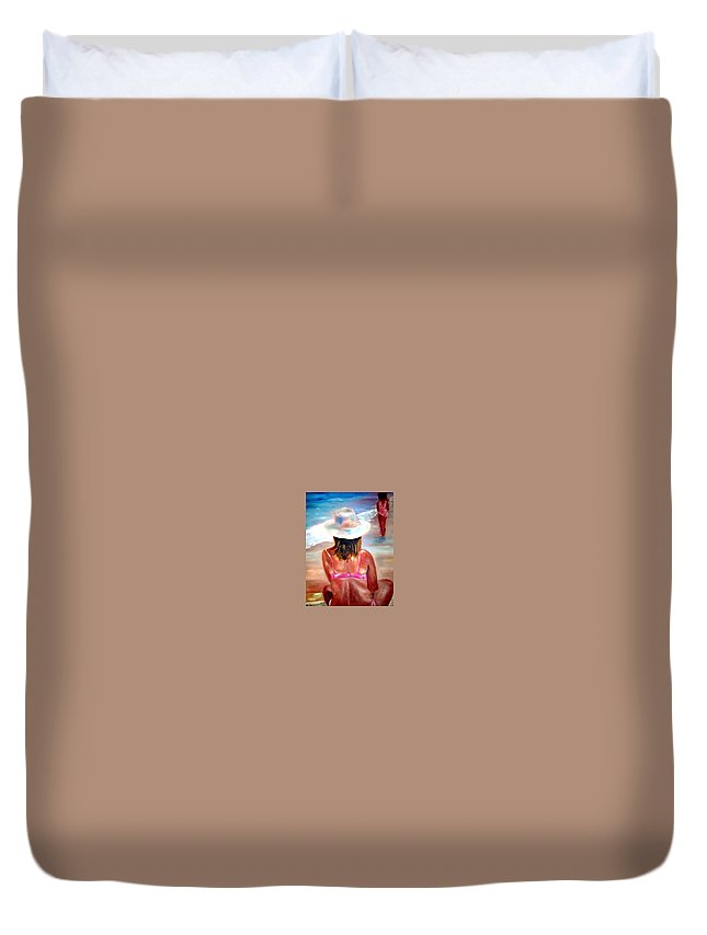Beach Duvet Cover featuring the painting Sweet Child Of Mine by Sandy Ryan