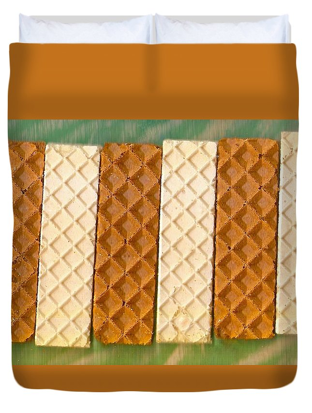 Food Duvet Cover featuring the mixed media Sweet Crackers by Pepita Selles