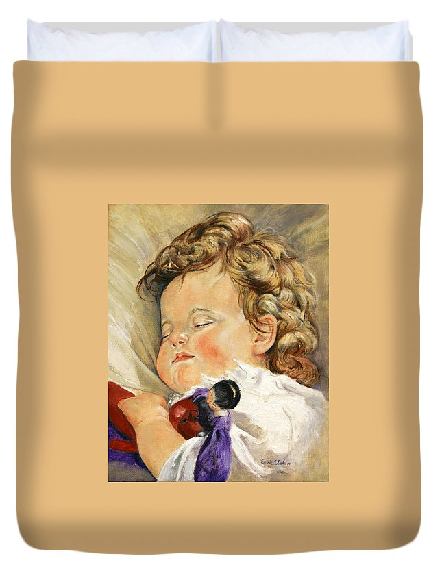 Children Portraits Duvet Cover featuring the painting Sweet Dreams by Portraits By NC