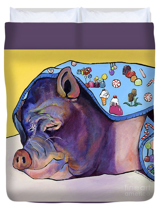 Farm Animal Duvet Cover featuring the painting Sweet Dreams by Pat Saunders-White