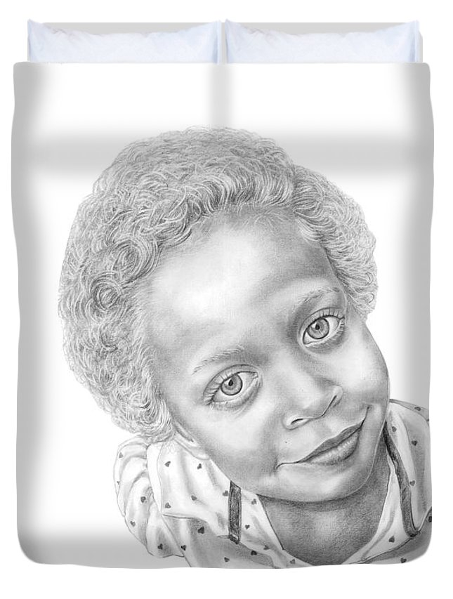 Portrait Duvet Cover featuring the drawing Sweet Eyes by Murphy Elliott