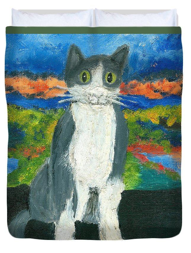 Cat Duvet Cover featuring the painting Sweet Flojo Kitty by Jorge Delara