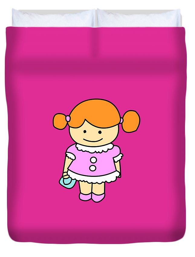 Sweet Girl With A Bag! Duvet Cover featuring the digital art Sweet Girl by Mokile