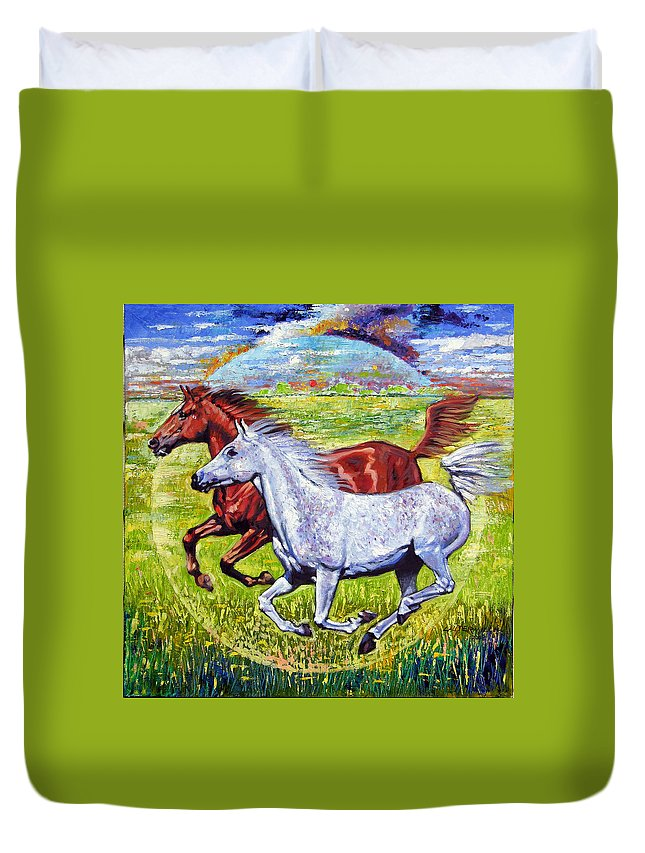 Horses Running Duvet Cover featuring the painting Sweet Harmony by John Lautermilch
