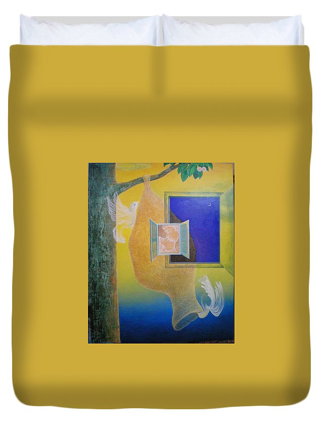 Romantic Duvet Cover featuring the painting Sweet Home by Raju Bose