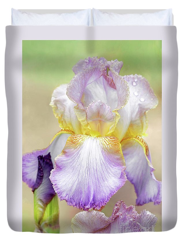 Iris White-multicolor Duvet Cover featuring the photograph Sweet Iris Pastel by Regina Geoghan