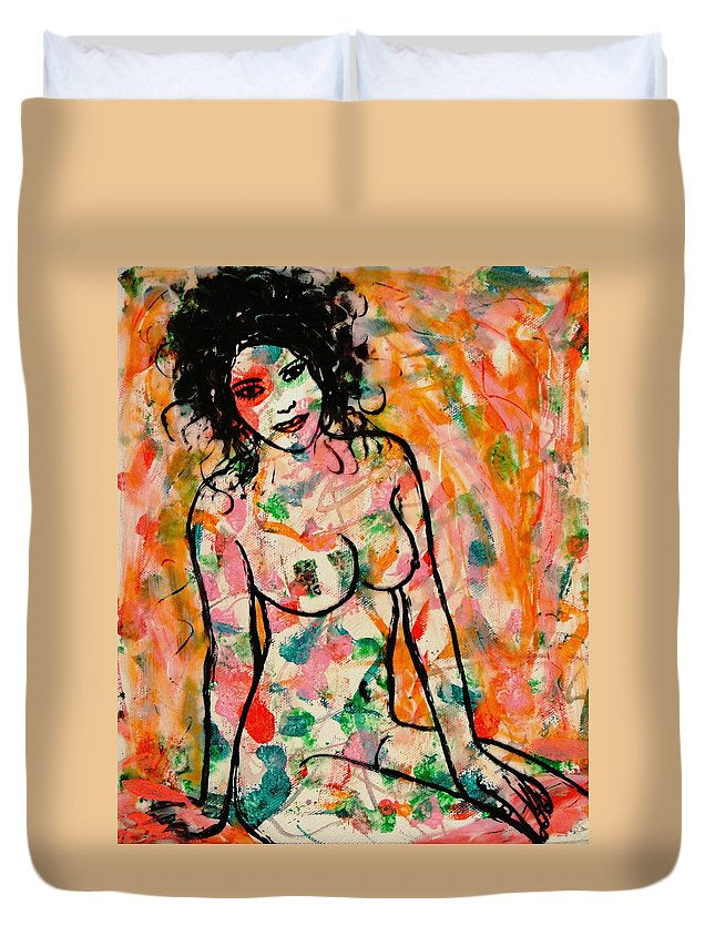 Sweet Lady Duvet Cover featuring the painting Sweet Lady by Natalie Holland