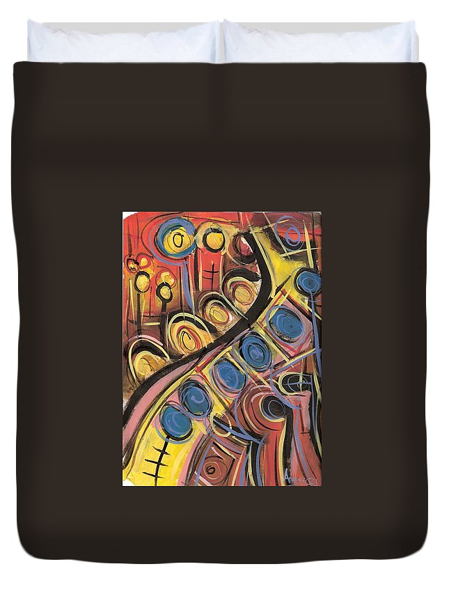 Abstract Painting Duvet Cover featuring the painting Sweet Music by Americo Salazar