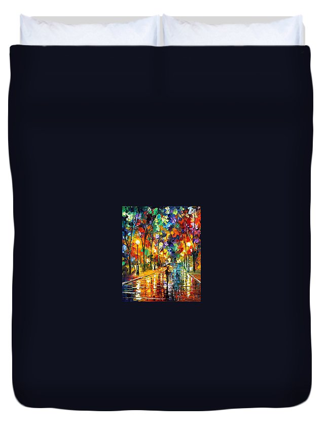 Afremov Duvet Cover featuring the painting Sweet Night by Leonid Afremov
