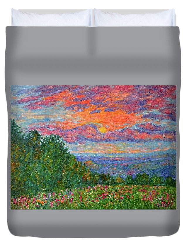Landscapes For Sale Duvet Cover featuring the painting Sweet Pea Morning on the Blue Ridge by Kendall Kessler